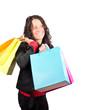Frau mit Einkaufstaschen ist glücklich