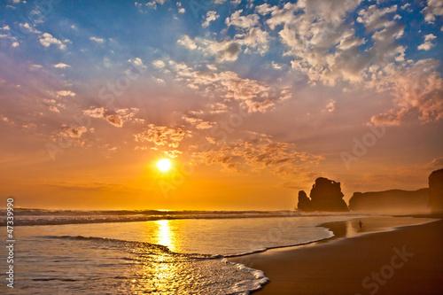 sunset ocean man