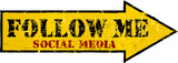 "grungy ""Follow Me"" social network sign, arrow"