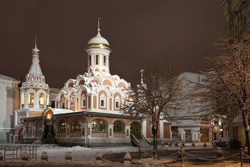 Night Moscow. The church on the Red square