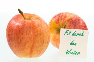 Äpfel und Text