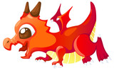 Cute cartoon red dragon Vector illustration