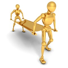 cartoon golden human characters with stretcher