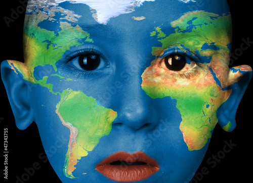 boy with word map painted on face