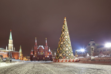 Christmas tree on the Red square in Moscow