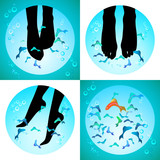 Fish spa pedicure set of vector icons