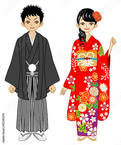 Couple wearing kimono -black and red