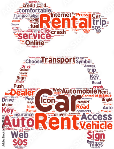 car rental symbol tag cloud illustration