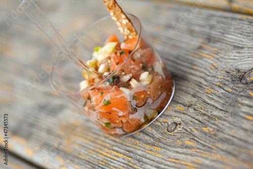 Tartare, poisson, thon, verrine, salade, cuisine, buffet