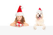 Small girl and dog wearing santa hats and posing behind a panel