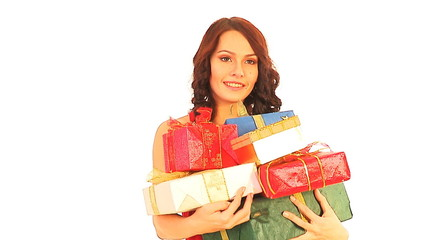 Woman with stack gift box on sale.