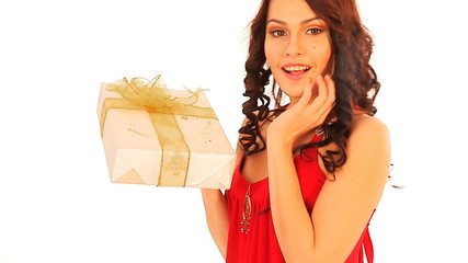 Woman take gift box.