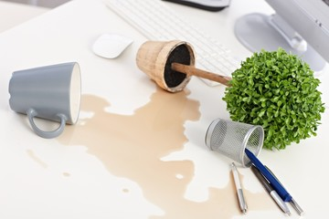Overturned plant and spilled out coffee on desk