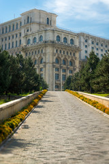 Entrance to the Palace of Parliament in Bucharest