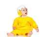 Adorable baby girl with chicken costume