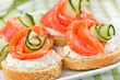 sandwiches with salmon and cucumber