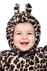 Adorable baby girl with leopard costume