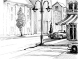 Retro city sketch, street, buildings and old cars vector illustr