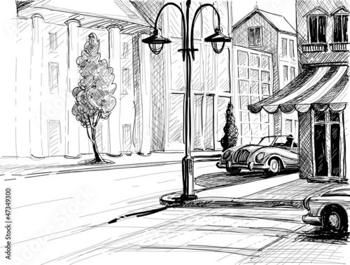 Retro city sketch, street, buildings and old cars vector illustr