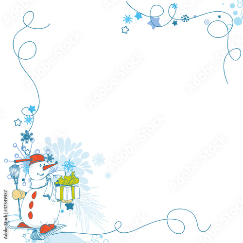Christmas card, funny snowman corner decoration with gift
