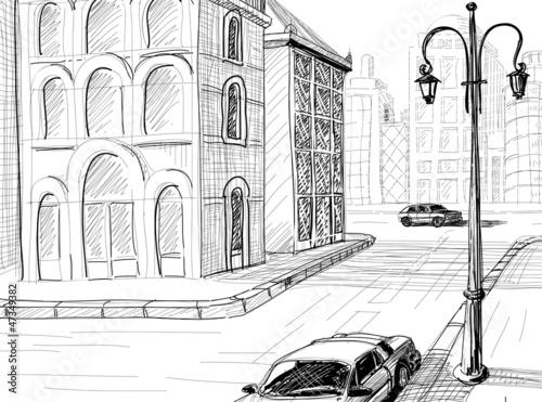 City sketch vector background - 47349382