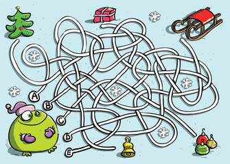 Winter Maze Game for Children with Funny Frog