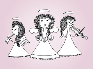 Angels singing and playing carols. Hand drawn illustration.