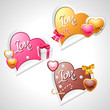 Valentine's Day vector stickers. Origami speech bubble.