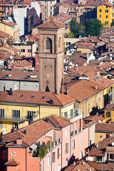 view on old town from Asinelli tower in Bologna