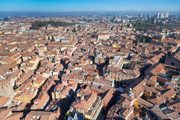 view from Asinelli Tower on Bologna city