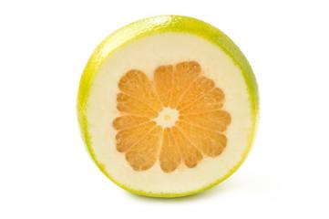 Citrus sveetie slices on a white background