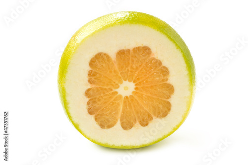 Citrus sveetie slices on a white background