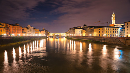 Panoramic view of Ponte Vecchio, Florence. Tuscany.