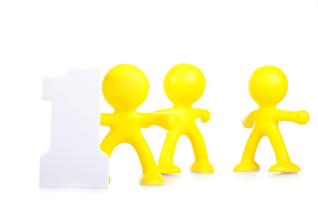 Three little men and figure 1, as leadership and victory symbol