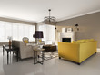 Elegant luxury contemporary interior with fireplace, yellow sofa