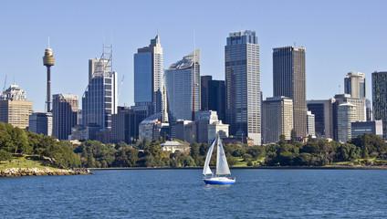 Sydney City Skyline mit Boot