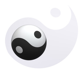 Yin-Yang ball at Yin-Yang background