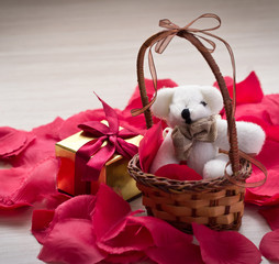Bear in a basket for St. Valentine's Day
