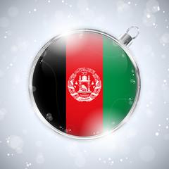 Merry Christmas Silver Ball with Flag Afghanistan