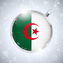 Merry Christmas Silver Ball with Flag Algeria