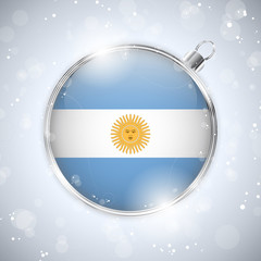 Merry Christmas Silver Ball with Flag Argentina