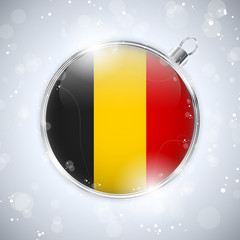 Merry Christmas Silver Ball with Flag Belgium