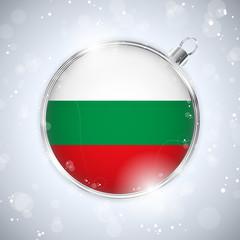 Merry Christmas Silver Ball with Flag Bulgaria