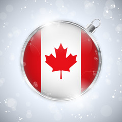 Merry Christmas Silver Ball with Flag Canada