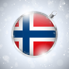 Merry Christmas Silver Ball with Flag Norway