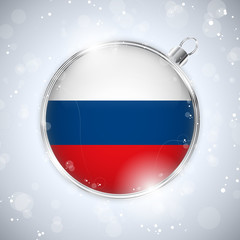 Merry Christmas Silver Ball with Flag Russia