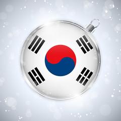 Merry Christmas Silver Ball with Flag South Korea