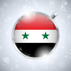 Merry Christmas Silver Ball with Flag Syrian