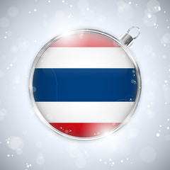 Merry Christmas Silver Ball with Flag Thailand