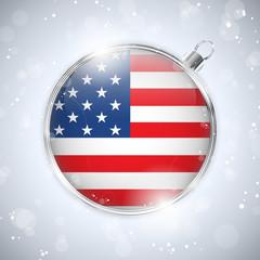 Merry Christmas Silver Ball with Flag USA